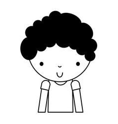 black icon cute little boy cartoon vector image