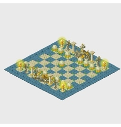 Blue stylized chess with grass and marine figures vector image
