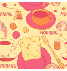Breakfast with hot toasts tomatoes and tea vector
