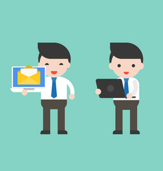 Businessman and laptop ready to use character vector