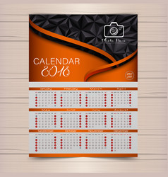 calendar for 2018 brown background design templat vector image