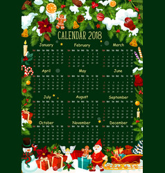 Calendar template with christmas garland frame vector