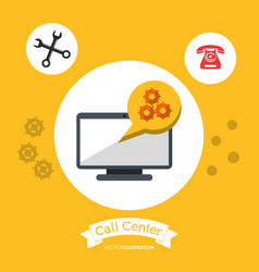 call center technology computer tool gear vector image