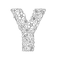 Capital letter y patterned with abstract flowers vector