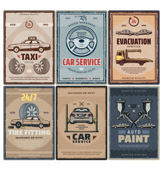 car repair service and taxi or evacuation posters vector image