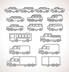 Cart Types Outline Icons vector image