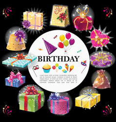 cartoon birthday gifts round concept vector image