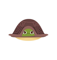 Cartoon comic turtle hiding in shell isolated on vector