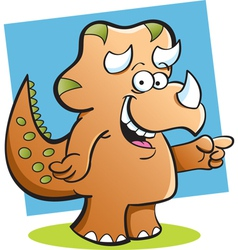 Cartoon Triceratops with a background vector