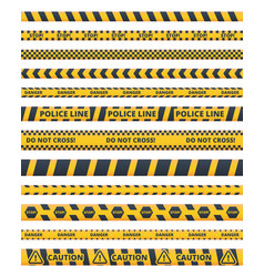 caution police lines flat set vector image
