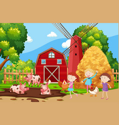 Children playing at the farmland vector