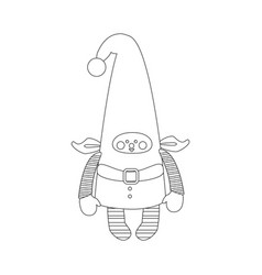 christmas elf coloring page vector image