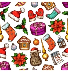 Christmas gifts seamless pattern background vector