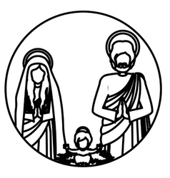 circular contour sacred family with baby jesus vector image