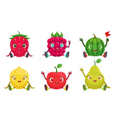 Collection cute fruit and berries cartoon vector