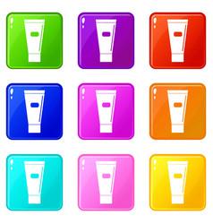 Cosmetic tube of cream or gel set 9 vector