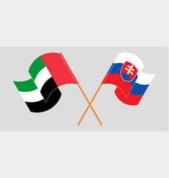 Crossed and waving flags slovakia vector