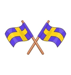 Crossed swedish flags icon cartoon style vector image