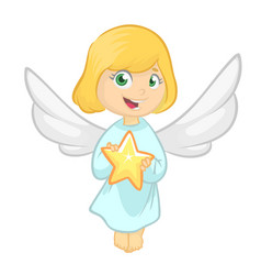 cute cartoon christmas angel holding a star vector image