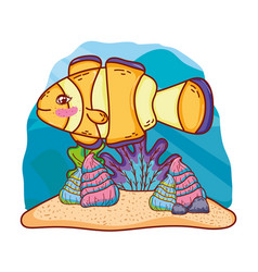Cute clownfish with shells and seaweed plants vector