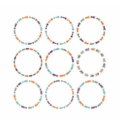 cute colorful circle arrow border patterns set vector image