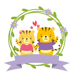Cute couple tigers animals wreath flowers vector