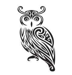 Decorative ornamental owl silhouette vector image