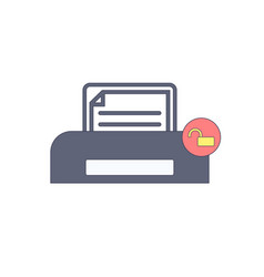 document paper print printer unlock icon vector image