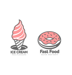 Donut glaze icing ice cream set isolated vector