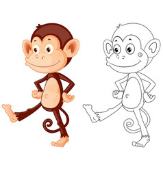 Doodle animal character for monkey vector