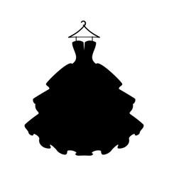 Dresses black dress silhouette of dress on white vector