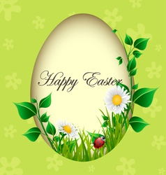 Easter egg card with plants and ladybug vector