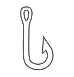 fishing hook thin line icon fishing and bait vector image