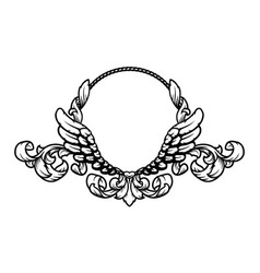 Frame with vintage pattern and angel wings vector
