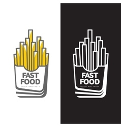 French fries in paper pack vector