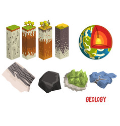 Geology science elements stratigraphic columns vector