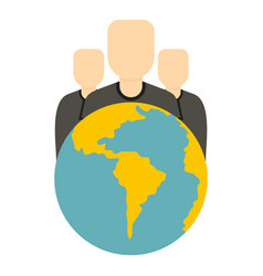 Globe and group of people icon isolated vector