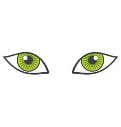 green eyes isolated over white vector image
