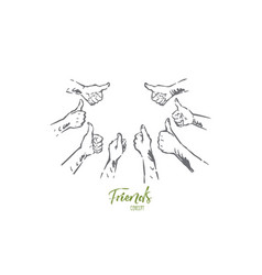 hands group showing thumbs up agreement approval vector image