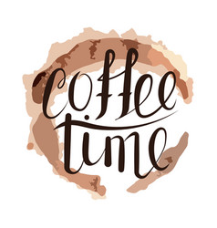 handwritten coffee time vector image