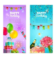 happy birthday holiday celebration banners set vector image