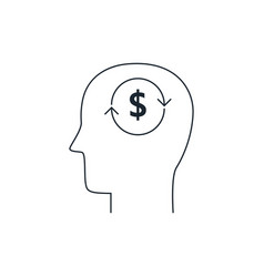 Head with dollar symbol icon analysis conceptthin vector
