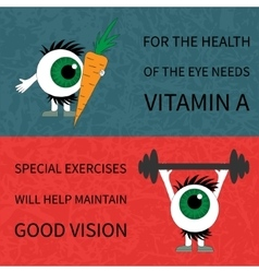 Healthy eyes Products and sport vector image