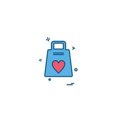 heart bags icon design vector image