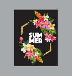 hello summer floral poster with golden frame vector image