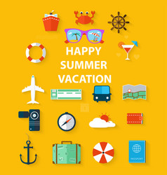 icons summer vacation in a flat style vector image