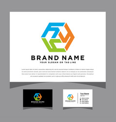Initials y hexagon logo with a business card vector