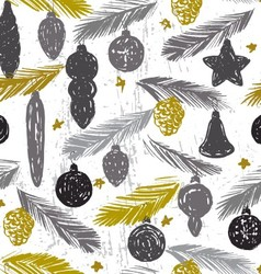 Ink hand drawn vintage christmas tree ornament vector image