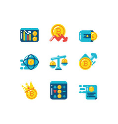 isolated cryptocurrency icon set design vector image