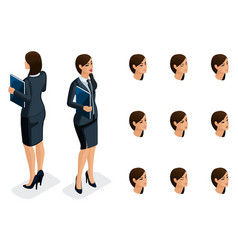 Isometric icons of womans emotions 3d body vector